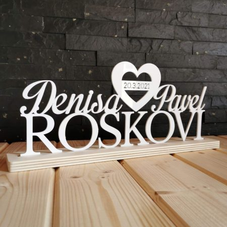 napis na svadobny stol akril drevoded