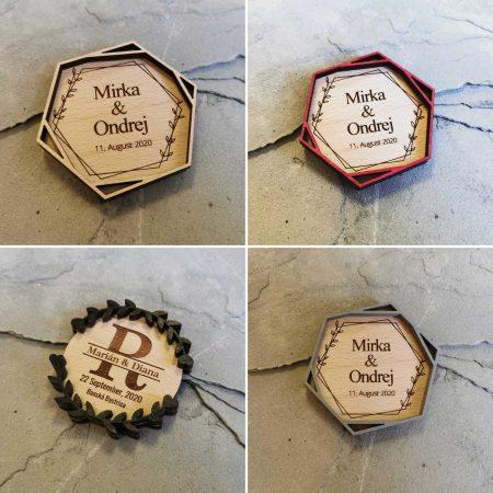 drevene svadobne magnetky darcek pre svadobcanov